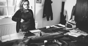 Dunja Sučić – owner of Marmelo bags in her workshop.